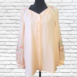Bob Mackie wearable art peach embroidered blouse